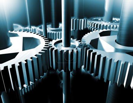 Photo pour Image industrielle rapprochée des roulements et engrenages - image libre de droit