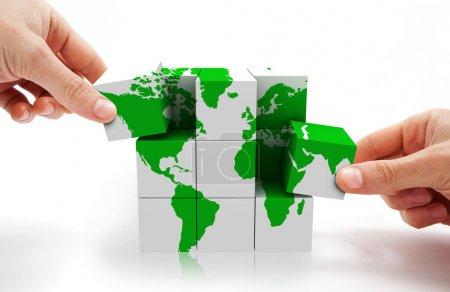 Photo pour Image 3D de la carte du monde conceptuel cube - image libre de droit
