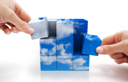 Photo for Concept of sustainable development with Cube puzzle and sky - Royalty Free Image