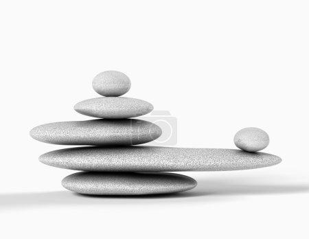Photo pour Pierres grises équilibrées isolés en blanc. - image libre de droit