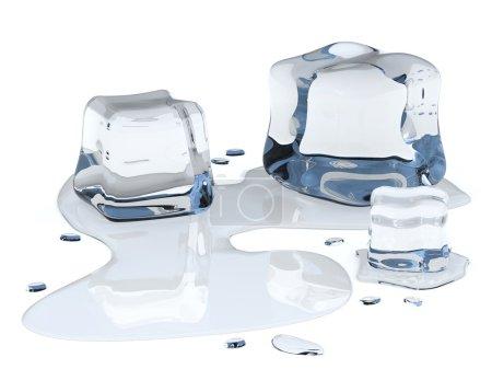 Ice cubes isolated on white background...