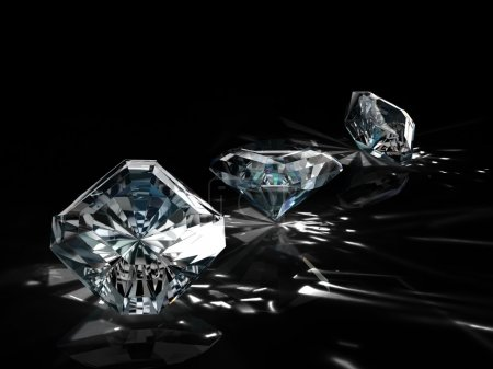 Group of nine diamonds on black background