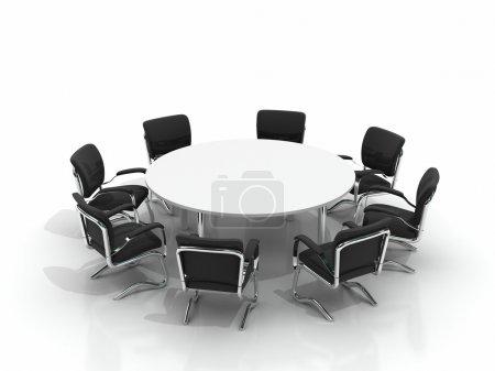 Photo pour Table de conférence et chaises isolées sur fond blanc - image libre de droit