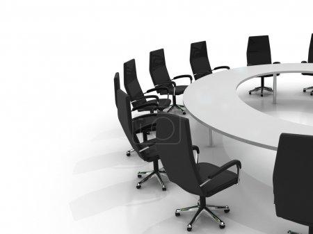 Photo pour Table ronde de conférence et chaises isolées sur fond blanc - image libre de droit
