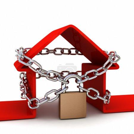 Photo pour Maison verrouillé avec cadenas sur fond blanc. concept de sécurité. rendu 3d de haute qualité - image libre de droit