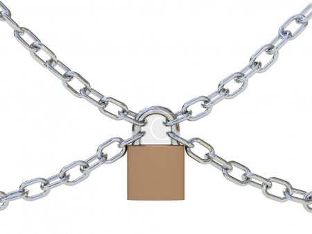 Photo for Chains with lock isolated on white background. Security concept. High quality 3D render. - Royalty Free Image