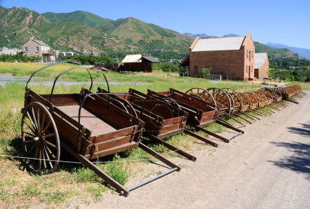 Display of Mormon Settler Hand Carts at Heritage Park in Utah