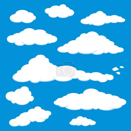 Illustration for A set of white cloud in a blue sky. - Royalty Free Image
