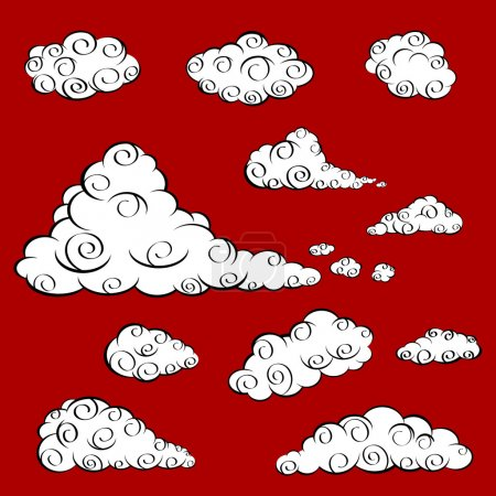 Illustration for A set of white cloud in oriental design. - Royalty Free Image