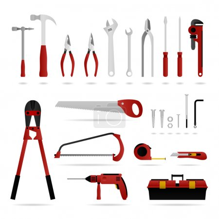 Illustration for A set of hardware tool that are suitable for carpenter, electrician, and plumber. - Royalty Free Image