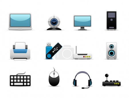 Illustration for A group of IT hardwares icons which include screen, cpu, printing devices, storage, and controller devices. - Royalty Free Image