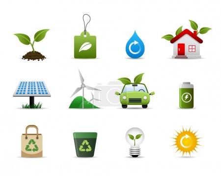 Illustration pour Un groupe d'icônes symboliques qui représentent le soutien à un environnement plus vert . - image libre de droit