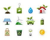 A group of symbolic icon that represent the support for a greener environment