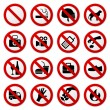 A set of prohibited sign in vector....