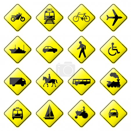 Illustration for Set 4 of 8 glossy road sign. - Royalty Free Image