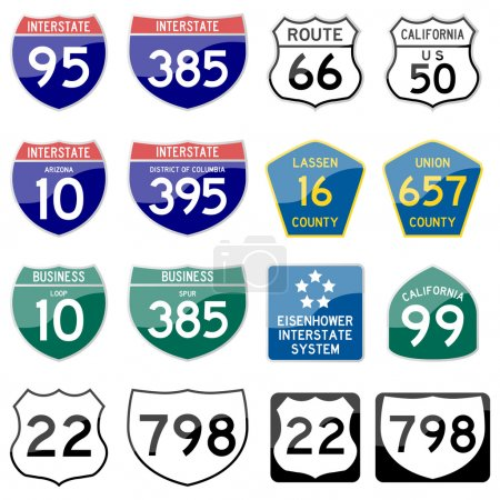 Road Sign Glossy Vector (Set 8 of 8)