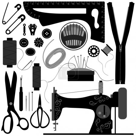Photo for A set of sewing equipments and tools. - Royalty Free Image