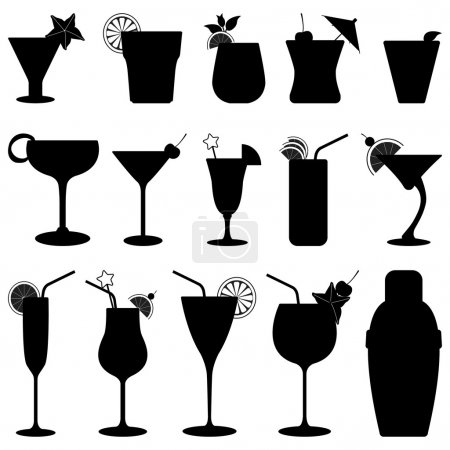 Illustration pour Un ensemble de jus de fruits cocktail en silhouette . - image libre de droit