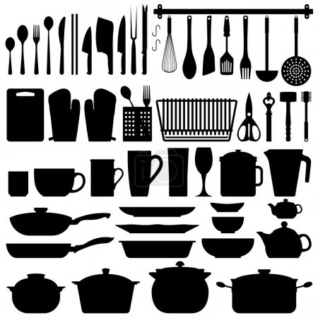 Photo for A big set of kitchen equipment and utensil in silhouette. This include cutlery, cooking equipment, plate, pot, and many others. - Royalty Free Image