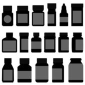 A set of medicine bottle and container in silhouette vector