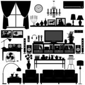 A set of living room furnitures and equipments