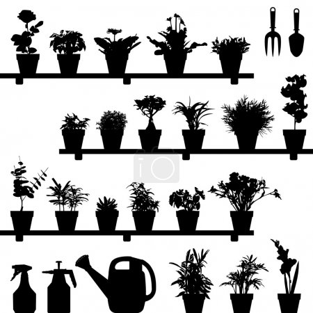 Illustration for A large set of flowers and plants in vase or pot. This is in silhouette version. - Royalty Free Image