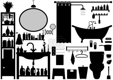 Illustration for A set of bathroom tools and equipments. - Royalty Free Image