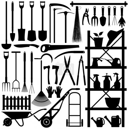 Illustration for A large set of gardening tool and equipment in silhouette. - Royalty Free Image