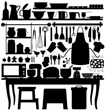 Illustration for A big set of bakery tools and utensils for kitchen. - Royalty Free Image