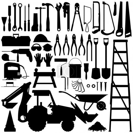 Illustration for A big set of construction tool industry in silhouette vector. - Royalty Free Image