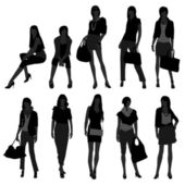 A set of shopping girls with fashion