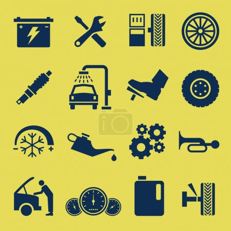 Photo for A set of car repair and service icons. - Royalty Free Image