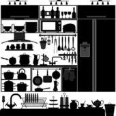 A set of kitchen interior design and tool
