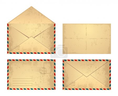 Illustration for Set of vector vintage envelope. Isolated on a white background. - Royalty Free Image