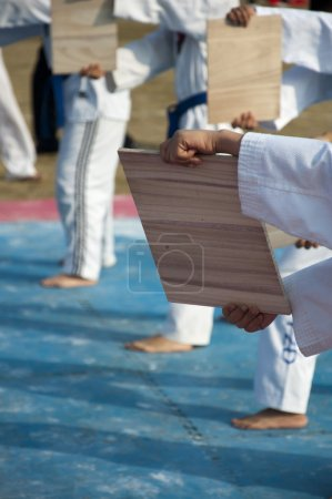Photo for Taekwondo for children performing - Royalty Free Image