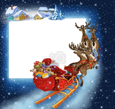 Photo for Background with Santa Claus on reindeer - Royalty Free Image