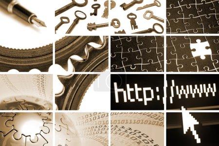 Foto de Comunicaciones y tecnología de composición de muchas imágenes - Imagen libre de derechos