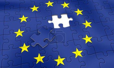 Photo pour Puzzle de l'union européenne - presque fini - image libre de droit