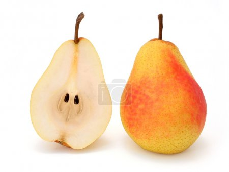 Whole and half pear