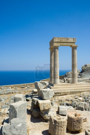 Photo for The partially rebuilt Hellenistic Stoa inside the Acropolis of Lindos, Rhodes, Greece - Royalty Free Image