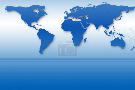 Photo pour Fond abstrait avec carte du monde bleue et lignes de perspective - image libre de droit