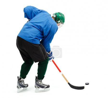 Ice hockey player in blue
