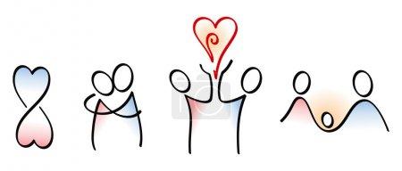 Illustration pour Icônes de conception de l'amour à l'enfant - image libre de droit
