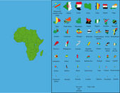 All states of Africa with their flags and the size of territories