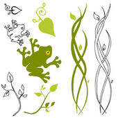 An image of a frog leaf and stem design elements