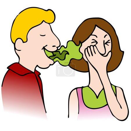 Illustration pour Une image d'un homme avec mauvaise haleine parlant à une femme . - image libre de droit