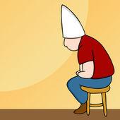 Dunce Hat Man on Stool