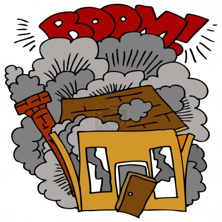 Illustration for An image of a house being demolished. - Royalty Free Image