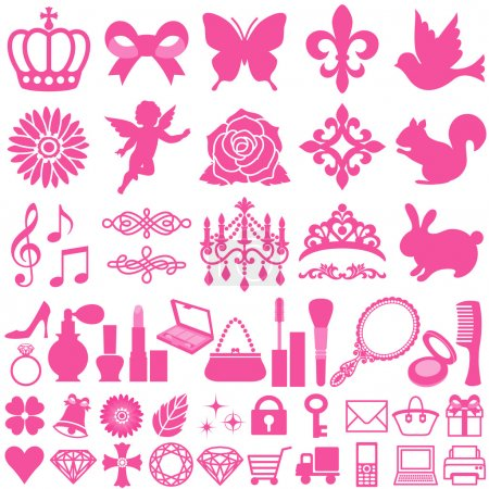 Photo for Set of beauty decorative icons. Vector illustration. - Royalty Free Image