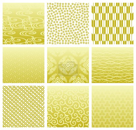 Illustration for Set of backgrounds in japanese traditional pattern. Vector illustration. - Royalty Free Image